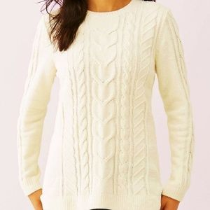 J Jill Ivory Chenille Cable Knit Sweater